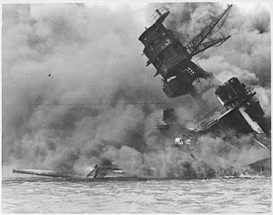 USS Arizona after Japanese attack
