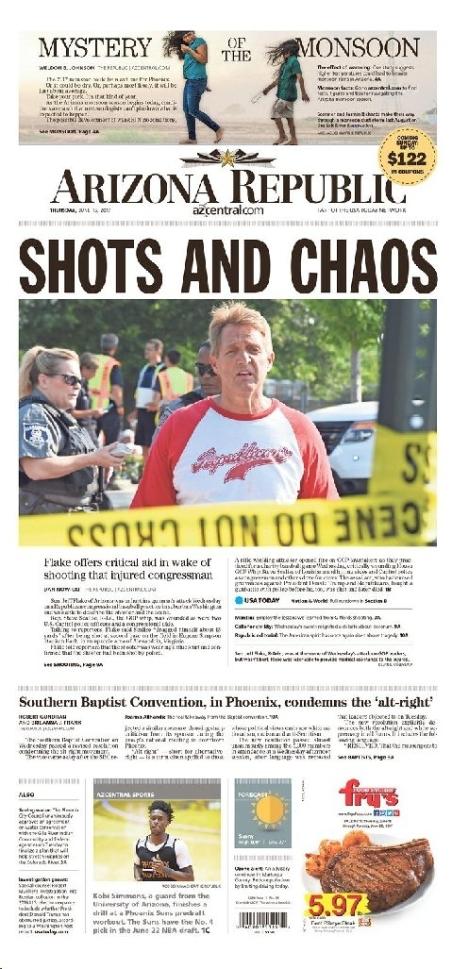 AZ Republic buffs candidate Jeff Flake to hero status in ballpark shooting