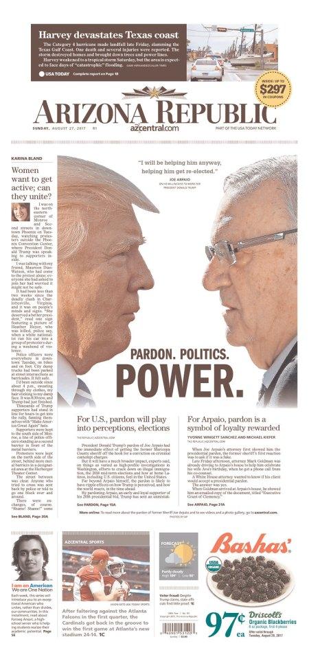 AZ Republic: Joe Arpaio pardon still Page One news